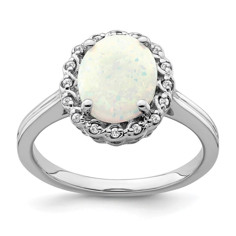 14k white gold created opal and real diamond halo ring rm7259 op 008 wa