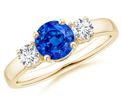 Classic Natural Blue Sapphire & Diamonds Three Stone Engagement Ring 14K Yellow Gold