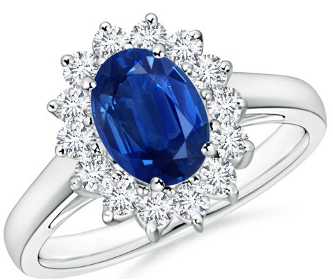 Princess Diana Inspired Created Blue Sapphire & CZ Ring in White Gold Plated Sterling Silver