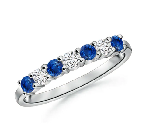 Created Blue Sapphire & CZ Half-Eternity Wedding Band Ring White Gold Plated Sterling Silver