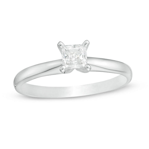 1/2 CT. Princess Cut Diamond Solitaire Engagement Ring in 14K White Gold