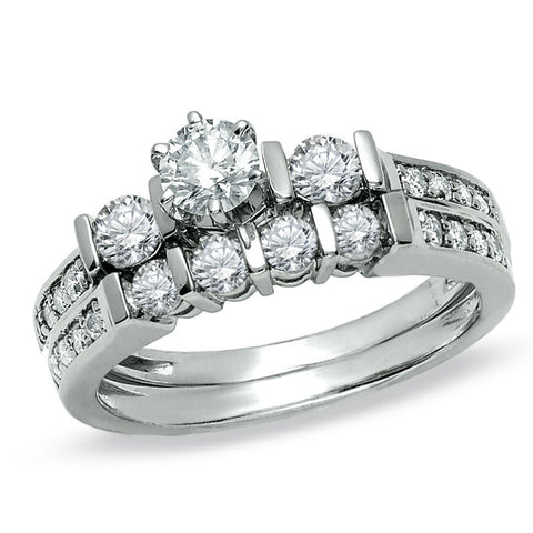 1 CT. T.W. Diamond Three Stone Bridal Engagement Ring Set in 14K White Gold