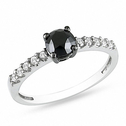 1 CT. TW Enhanced Black and White Diamond Verlobungsring aus 14 Karat Weißgold