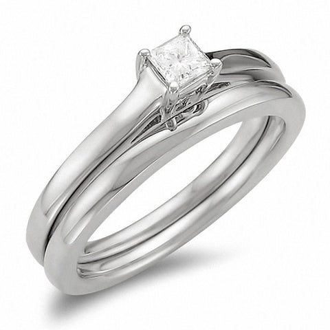 1/4 قيراط. TW Princess-Cut Diamond Solitaire Wedding Engagement Ring Set 14K White Gold