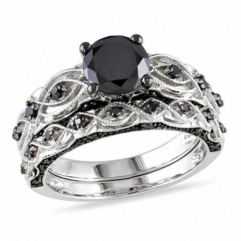 1-3 / 8 CT. TW Enhanced Black Diamond Vintage-Stil Braut-Set in 10 Karat Weißgold