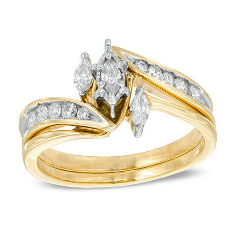 1/2 قيراط. Marquise Diamond Three Stone Wedding Engagement Ring Set في 14K Gold