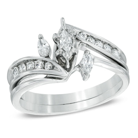 1/2 قيراط. Marquise Diamond Three Stone Wedding Engagement Ring Set في 14K White Gold