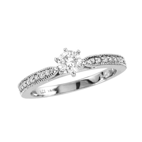 1/2 CT. T.W. Diamond Vintage-Style Engagement Ring in 14K White Gold
