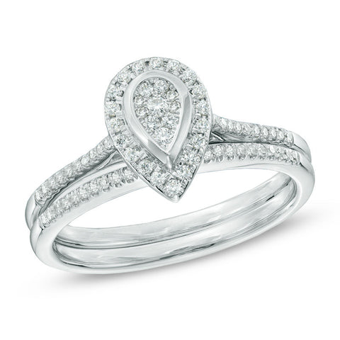 1/3 CT. T.W. Diamond Pear-Shaped Composite Halo Bridal Engagement Ring Set in 14K White Gold