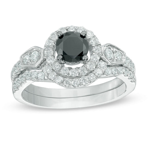 1-1/4 CT. T.W. Enhanced Black and White Diamond Frame Bridal Engagement Ring Set in 14K White Gold