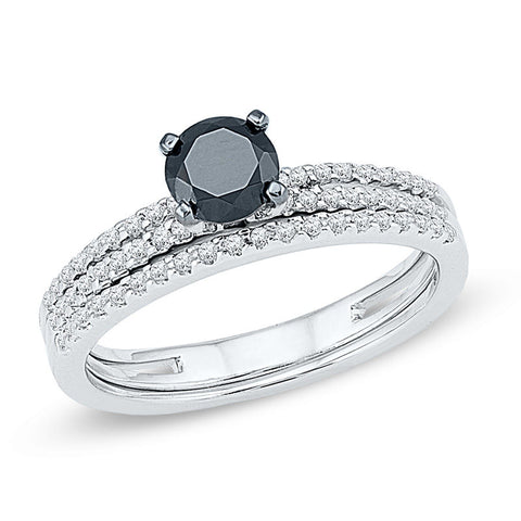 3/4 CT. T.W. Enhanced Black and White Diamond Bridal Set in 14K White Gold