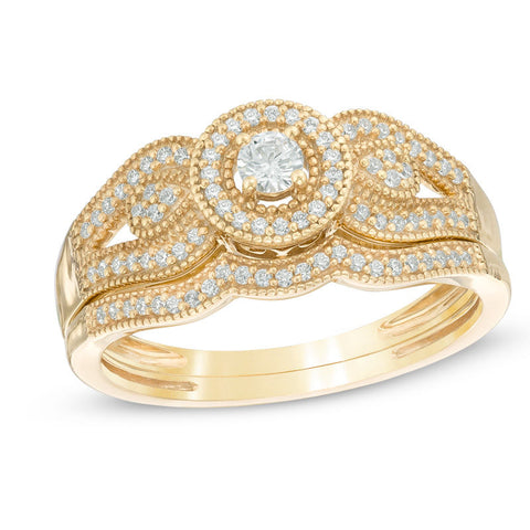 1/4 CT. T.W. Diamond Halo Vintage-Style Bridal Engagement Ring Set in 14K Yellow Gold