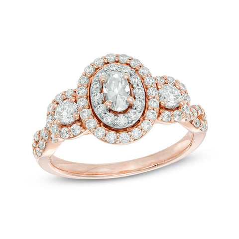 1 CT. Bague de fiançailles halo de diamants ovales TW en or rose 14 carats