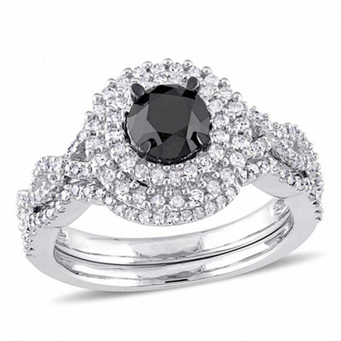1-1/2 CT. T.W. Enhanced Black and White Diamond Double Frame Twist Shank Bridal Set in 14K White Gold