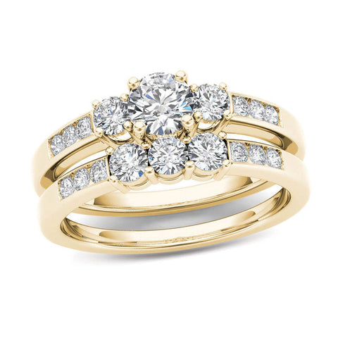 1 CT. T.W. Diamond Three Stone Bridal Engagement Ring Set in 14K Gold