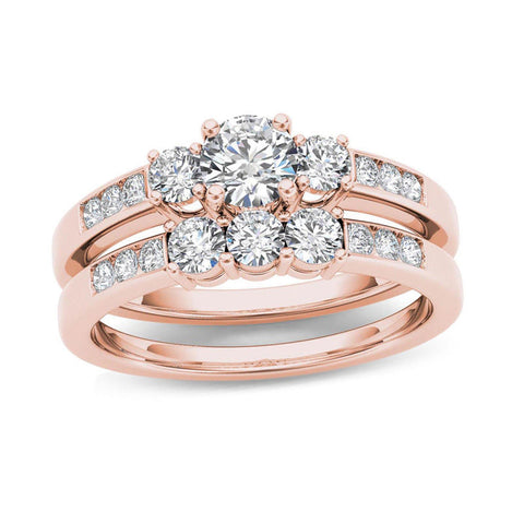 1 CT. T.W. Diamond Three Stone Bridal Engagement Ring Set in 14K Rose Gold