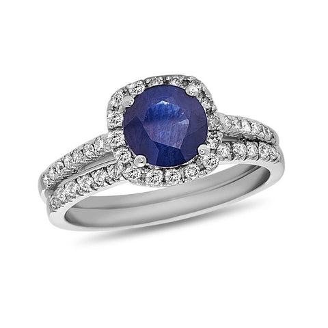 6.0mm Blue Sapphire and 3/8 CT. T.W. Diamond Cushion Frame Bridal Engagement Ring Set in 14K White Gold