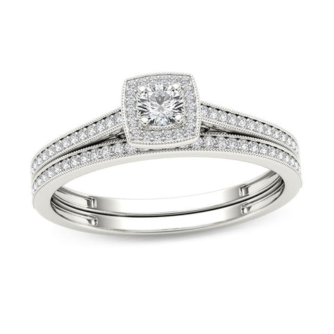 1/3 CT. T.W. Diamond Cushion Frame Vintage-Style Bridal Engagement Ring Set in 14K White Gold