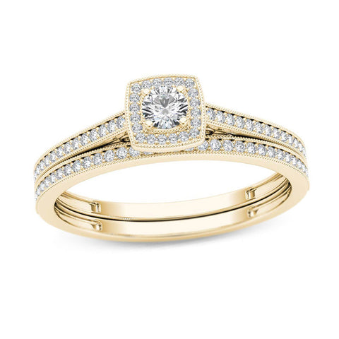 1/3 CT. TW Diamond Kissenrahmen Vintage-Stil Braut Verlobungsring Set in 14 Karat Gold