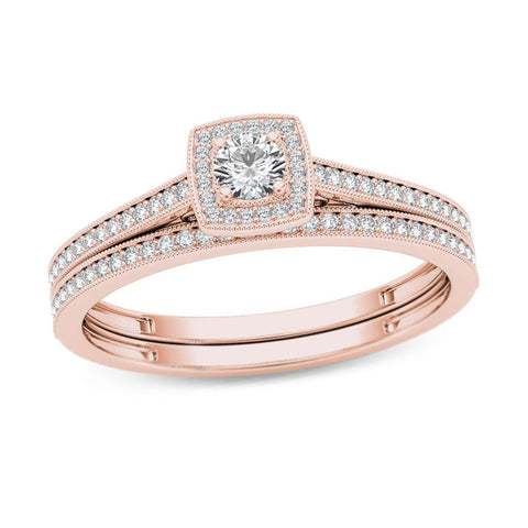 1/3 CT. T.W. Diamond Cushion Frame Vintage-Style Bridal Engagement Ring Set in 14K Rose Gold