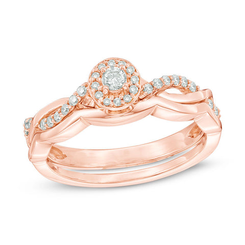 1/4 CT. T.W. Diamond Frame Twist Bridal Engagement Ring Set in 14K Rose Gold
