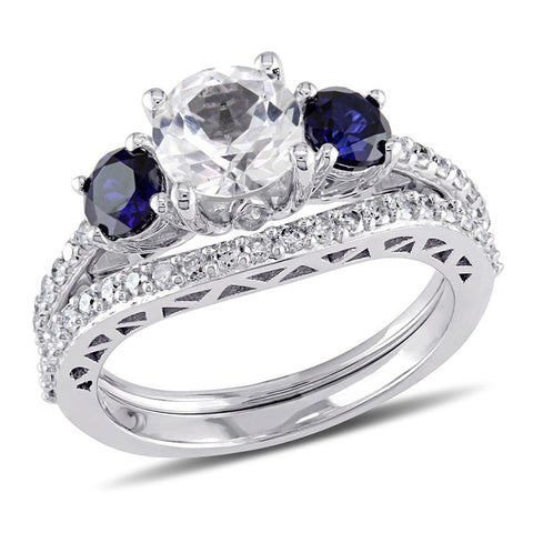 6.5mm Lab-Created White and Blue Sapphire with 1/3 CT. T.W. Diamond Three Stone Bridal Engagement Ring Set in 14K White Gold