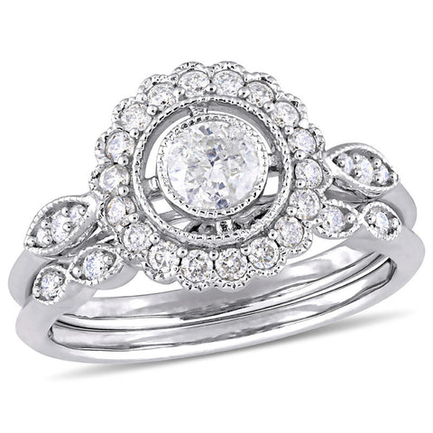 3/4 CT. T.W. Diamond Flower Frame Vintage-Style Bridal Engagement Ring Set in 14K White Gold