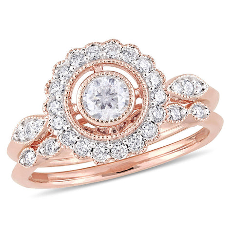 3/4 CT. T.W. Diamond Frame Vintage-Style Bridal Engagement Ring Set in 14K Rose Gold
