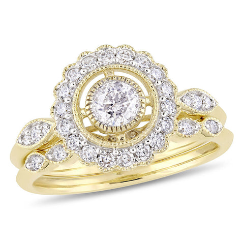 3/4 CT. T.W. Diamond Frame Vintage-Style Bridal Engagement Ring Set in 14K Gold