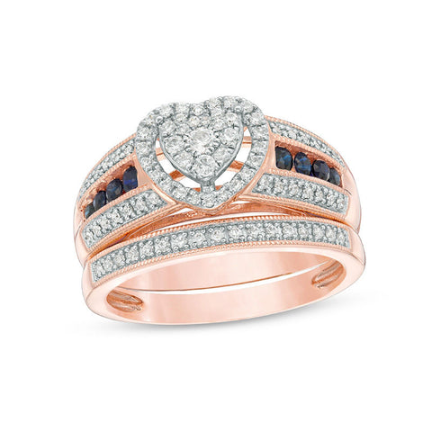 3/8 CT. T.W. Composite Diamond and Blue Sapphire Heart Frame Multi-Row Vintage-Style Bridal Engagement Ring Set in 14K Rose Gold