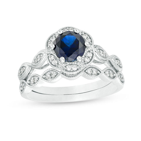 6.0mm Lab-Created Blue Sapphire and 1/5 CT. T.W. Diamond Frame Bridal Engagement Ring Set in 14K White Gold