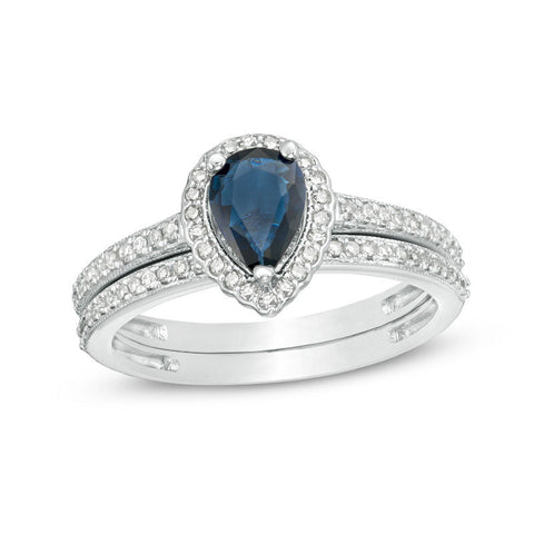Pear-Shaped Blue Sapphire and 1/4 CT. T.W. Diamond Scallop Frame Bridal Engagement Ring Set in 14K White Gold