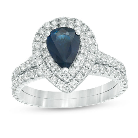 Pear-Shaped Blue Sapphire and 1 CT. T.W. Diamond Double Frame Bridal Engagement Ring Set in 14K White Gold