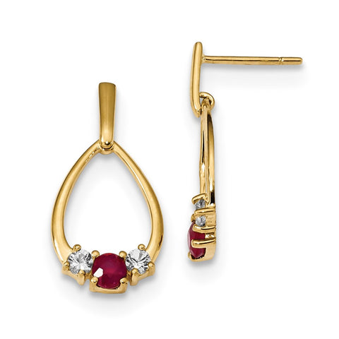 14k Yellow Gold w/ AF. Ruby & White Sapphire Post Dangle Earrings XE3095R/AA