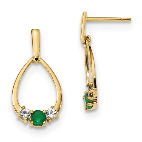 14k Yellow Gold w/ Emerald and White Sapphire Post Dangle Earrings XE3128E/AA