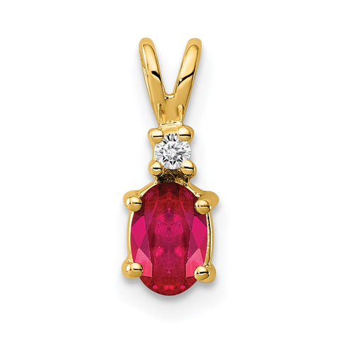 14k 6x4mm Oval Ruby Natural Diamond Pendant