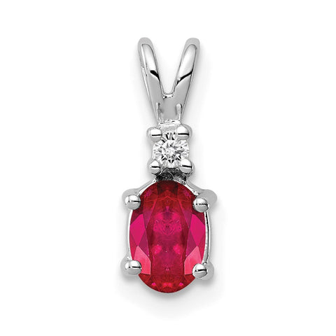 14k White Gold 6x4mm Oval Ruby Natural Diamond Pendant