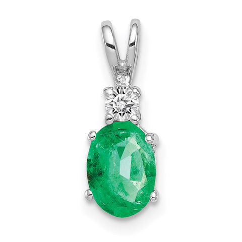14k White Gold 7x5mm Oval Emerald Natural Diamond Pendant