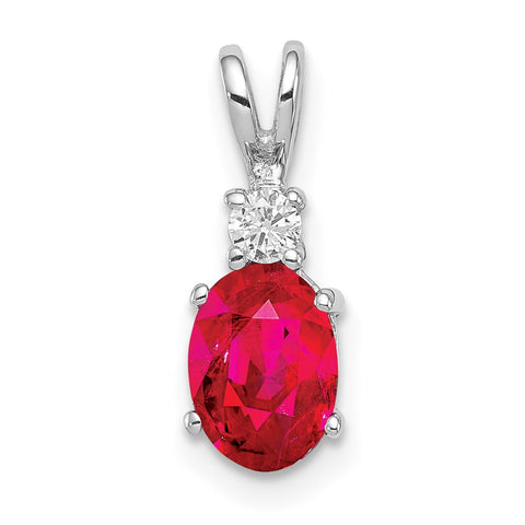 14k White Gold 7x5mm Oval Ruby Natural Diamond Pendant
