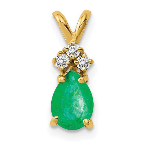 14k 7x5mm Pear Emerald Natural Diamond Pendant