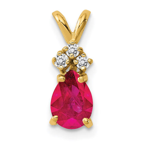 14k 7x5mm Pear Ruby Natural Diamond Pendant