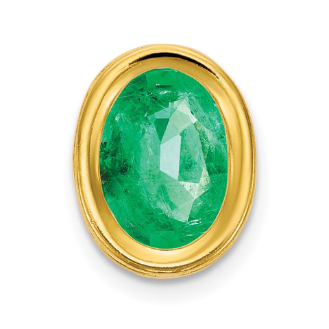 14k 7x5mm Oval Emerald bezel Pendant
