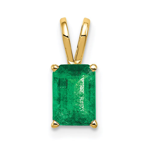 14k 7x5mm Emerald Cut Emerald Pendant