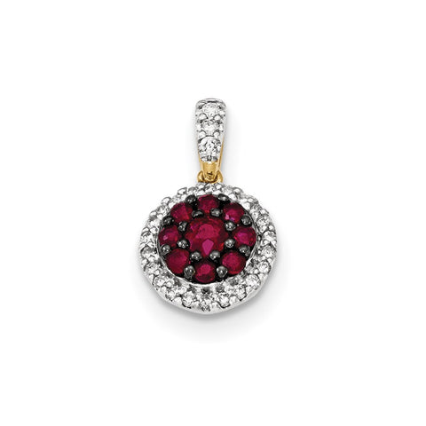 14k yellow gold real diamond and ruby pendant xp4526r aa