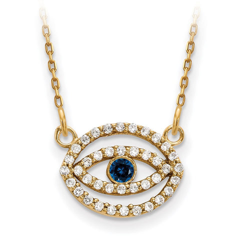 14ky Small Diamond and Sapphire Gold Halo Evil Eye Necklace