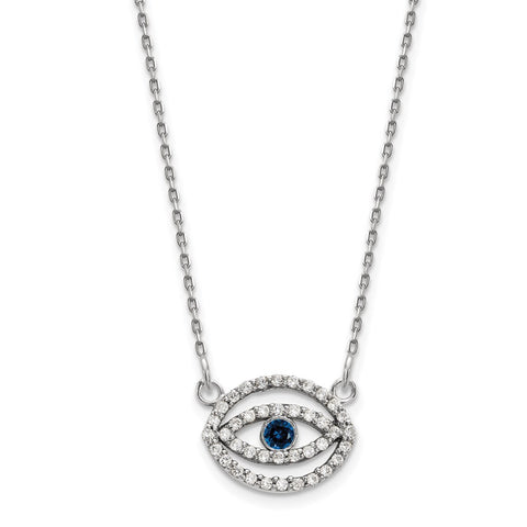 14k White Gold Small Diamond and Sapphire Halo Evil Eye Necklace