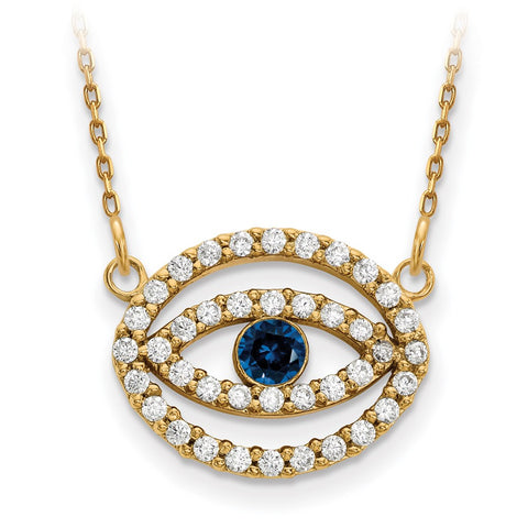 14ky Medium Necklace Diamond and Sapphire Gold Halo Evil Eye