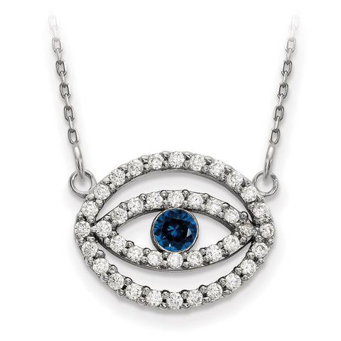 14k White Gold Medium Diamond and Sapphire Halo Evil Eye Necklace