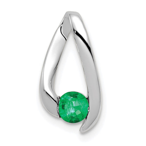 14k White Gold 4mm Emerald Pendant
