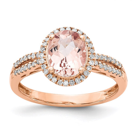 14 Karat Roségold Oval Morganit Echt Diamant Halo Ring y12853mg aa